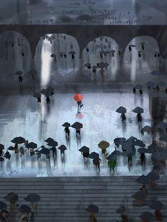 Adorable Illustrations by Goro Fujita Arte Black, Pascal Campion, Umbrella Art, Speed Paint, Illustrations, Art Plastique, Belle Photo, Dark Art, Fantasy Art