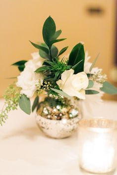 Rose and Greenery Arrangement in Mercury Glass Bud Vase - Elizabeth Anne Designs: The Wedding Blog