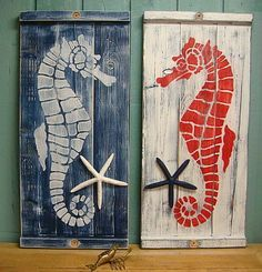 Seahorse Sign Wall Art Panel Wood Painting Beach House Decor by CastawaysHall…