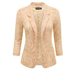 c696c39d788 LADIES WOMENS PADDED OPEN FRONT LACE BLAZER SUMMER SMART SUITS COAT JACKET  TOP  Amazon.co.uk  Clothing