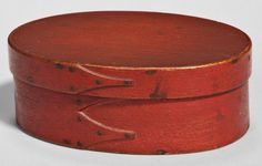 Skinner's Shaker Auction 2898M. June 4, 2016. Lot: 222.  Estimate: $800-1,200.  Realized: $3,444.  Description:  Shaker Bittersweet/Red-painted Oval Box, with pine top and bottom and bent maple sides, ht. 2 1/8, wd. 4, lg. 5 7/8 in.
