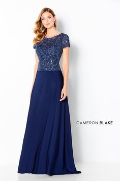 Cameron Blake Description: Short sleeve crepe a-line gown with a bateau neckline, hand beaded top, drop waist, illusion back and a sweep train.Silhouette: A-Line; Mother Of The Bride Gown, Mother Of Groom Dresses, Mothers Dresses, Special Dresses, Special Occasion Dresses, Formal Dresses, Mom Dress, Lace Dress, Cameron Blake