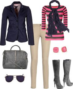"""Navy, Pink, & Grey"" by boopie101 ❤ liked on Polyvore"