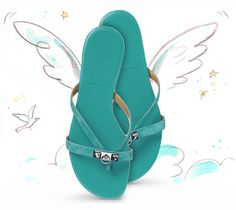 hermès turquoise flat sandal