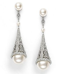 Eliot Danori Earrings, Simulated Pearl and Pave Crystal Cone Drop Earrings - Fashion Jewelry - Jewelry & Watches - Macy's