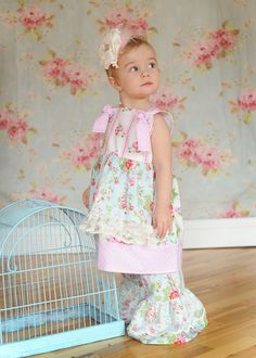 Elisabeth... Timeless Treasures.. Apron Knot Dress Size 12 month to girls size 6.. $41.95, via Etsy.