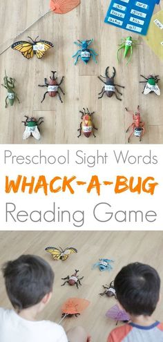 This bug game for kids is also a riot for the adults who are teaching them! Work on sight words with this super fun whack-a-bug reading game! Learning Games For Preschoolers, Preschool Games, Preschool Learning, Free Preschool, Kindergarten Activities, Reading Games For Kids, Outdoor Activities For Kids, Baby Activities, Reading Activities