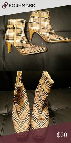 Plaid boots. These remind me of Burberry with the print. Worn once. Super cute and retro/vintage style. Shoes