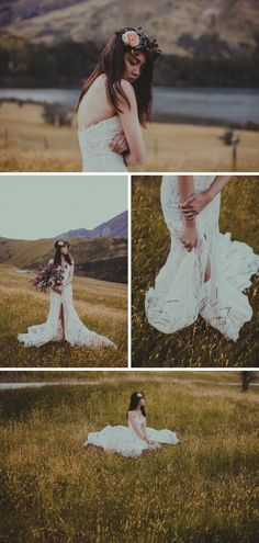 A combination of barely-there make up, a sweeping lace gown and rustic bouquet  // Wild & Moody Wedding Inspiration Photoshoot