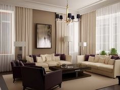 Gorgeous monochromatic living room design with grey wall paint color, ivory…