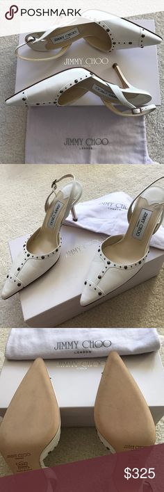 Jimmy Choo point toe 💯 % Authentic brand new Jimmy Choo point toe 3 1/2 inch heel ivory color in original box and dust bag size £37 US 7 Jimmy Choo Shoes Heels