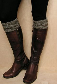 Love me some boot socks! Hand knitted 100 wool Women Boot cuffs Grey by KnittingsWithSense, $20.00
