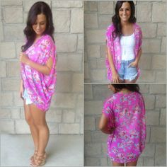 Summer Outfit// I've been wanting a mini kimono...i don't like the bright pink but this outfit is adorable
