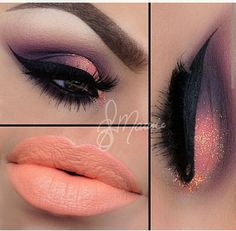 Purple smokey crease with coral gold shimmer lid and orange  cream lip