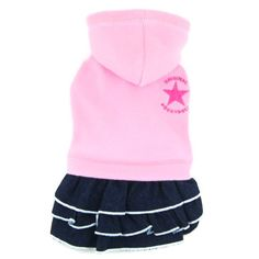 Doggy Dolly Designer Dog Apparel - Lavina Hooded Fleece with Denim skirt - Color: Pink, Size: M Girl Dog Clothes, Dog Apparel, Fleece Hoodie, Dog Design, Pet Supplies, Denim Skirt, Size Chart, Hoodies, Note