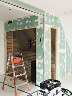 Diy Sauna, Basement Sauna, Sauna Shower, Sauna Design, Steam Room, Beautiful Homes, Sweet Home, Wellness, Interior