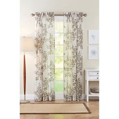 Better Homes and Gardens Faux Linen Leaves Polyester Curtain Panel, Taupe