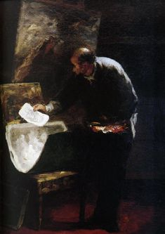 Painter dividing into sheets a paperboard of drawing Honore Daumier