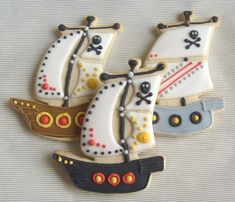 Reserved for Carla-----Pirate Ship Decorated Cookie Favors - Pirate Ship Cookies - 1 Dozen Fancy Cookies, Iced Cookies, Cute Cookies, Cookies Et Biscuits, Sugar Cookies, Gourmet Cookies, Cookies Decorados, Galletas Cookies, Shortbread Cookies