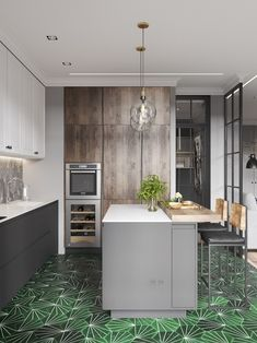 Best pictures, design and decor about kitchen flooring ideas, tile pattern. inexpensive - Kitchen floors for my modern kitchen Apartment Interior, Home Interior, Interior Design Kitchen, Design Bathroom, Dining Area, Kitchen Dining, Kitchen Decor, Kitchen Flooring, Kitchen Backsplash