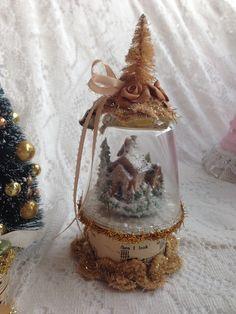 Victorian Inspired Snow Globe Winter Scene...used broken glass and cardboard ribbon holder