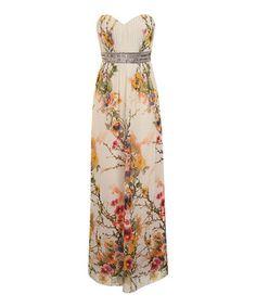 Look at this #zulilyfind! Ivory & Yellow Floral Maxi Dress by Little Mistress #zulilyfinds