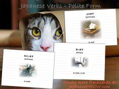 Japanese verbs - Yomimasu, Araimasu, and aimasu.  Study more flashcards at JapaneseMEOW.com