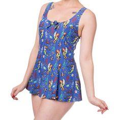 Banned Wilderness badpak jurk met zeemeerminnen print blauw - Vintage