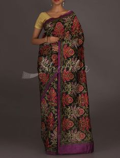 Reshma A Colorful Bloom #Kantha Work Pure #SilkSaree