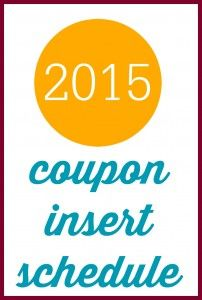 Don't miss out on any coupon inserts!  Here's the 2015 coupon insert schedule so you can keep track of it all.