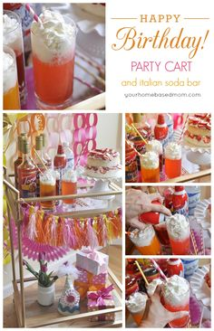 Birthday Party Cart and Italian Soda Bar  #partyreddi