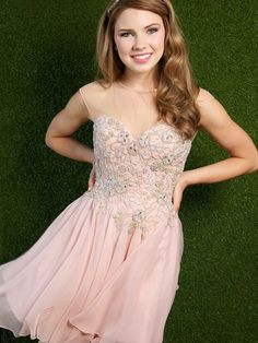 Pink Crystal Beaded Junior Chiffon Homecoming Dress