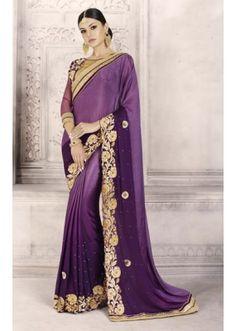 Ethnic Wear Purple Georgette Saree  - 14213