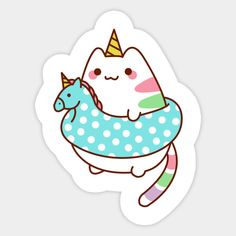 Cute Caticorn - Unicorn - Sticker | TeePublic Tumblr Stickers, Anime Stickers, Kawaii Stickers, Cool Stickers, Printable Stickers, Planner Stickers, Cute Cartoon Drawings, Cute Kawaii Drawings, Unicorn Illustration