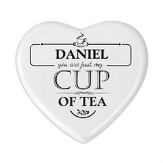 Personalised Just My Cup of Tea Heart Coaster
