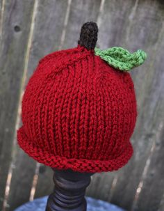 Knitted Apple Hat and Photography Prop. $25.00, via Etsy.