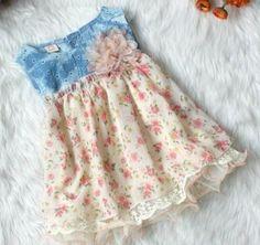 Cream Peach Denim Dress Sleeveless Dress Floral Summer Girls Cream Tutu Dress