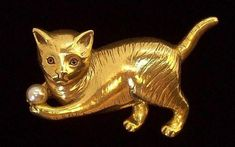 Regal 3-Dimensional Cat Playing w Ball Brooch  Goldtone Metal & Imitation Pearl. Vintage Jewelry under $25 at Ruby Lane @Ruby Lane