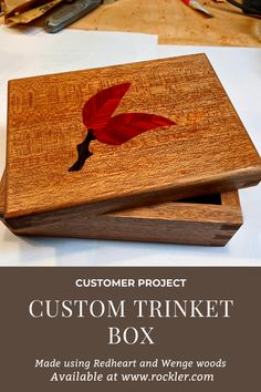 made this beautiful box using Redheart and Wenge woods available at Rockler. Woodworking Items That Sell, Cool Woodworking Projects, Custom Woodworking, Wenge Wood, Small Jewelry Box, Craft Show Ideas, Custom Boxes, Trinket Boxes, Wooden Boxes