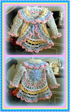 "Crochet ""Baby Cakes"" Circular Toddler Jacket                                                                                                                                                                                 More"