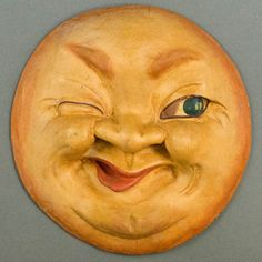 This Man in the Moon Plaque is carved from wood and hand painted, made in the century. A winking man in the moon has lo… Los Astros, Moon Drawing, Drawing Art, Painted Rocks Craft, Sun Moon Stars, Rock Crafts, Moon Art, Pottery Art, Art Dolls