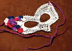 Ravelry: Lacy Crocheted Mask pattern by Cara's Handcrafted Crocheted Ornaments Crochet Mask, Thread Crochet, Diy Crochet, Crochet Crafts, Crochet Projects, Masquerade Masks, Halloween Crochet, Unique Crochet, Crochet Instructions