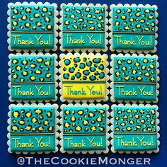 Turquoise and yellow leopard print cookies @TheCookieMonger For ordering info, please email thecookiemonger@outlook.com Thank You Cookies, Iced Sugar Cookies, Name Tags, Biscuits, Turquoise, Yellow, Crack Crackers, Cookies, Name Labels