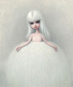 The Snow Yak Show - Girl in a Fur Skirt, by Mark Ryden. (Oil on canvas,