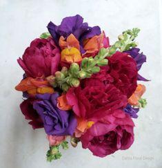 jewel toned wedding flower bouquet fuchsia purple orange peony