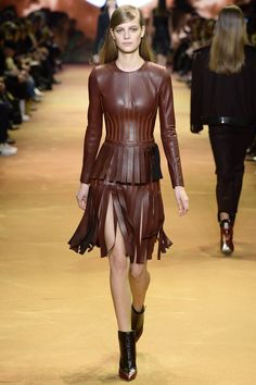 Mugler Fall 2016 Ready-to-Wear Fashion Show Sharp cut but the fringed skirt is not appealing