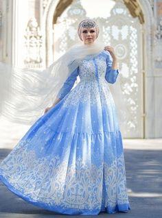 Fiore Elbise - Mavi - Muslima Wear
