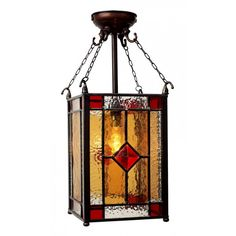 stained glass lantern | Period Victorian Hall Lantern with Square Amber and Red ...
