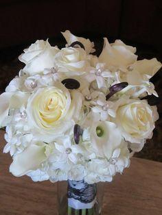 wedding bouquets black and white bridal bouquet, rhinestones, black lace, white rose bouquets