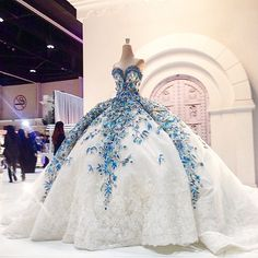 White couture wedding dress, bridal gown with blue flowering   Jacy Kay Design Couture